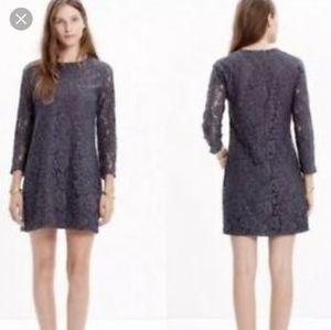 Madewell grey lace shift dress size 6